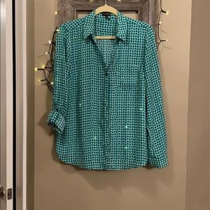 The Limited green and white button down blouse